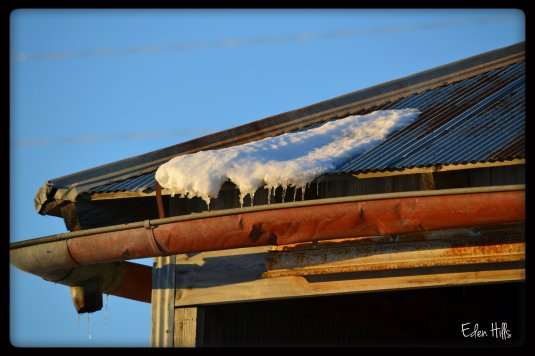 snow on barn roof