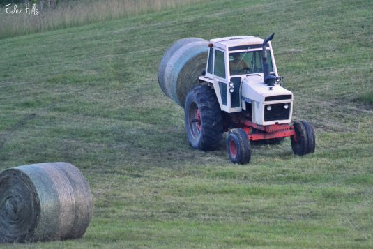 tractor and round bale
