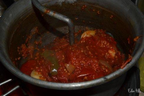 making tomato sauce