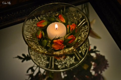 flowers, candle and mirror