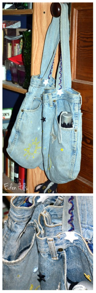 denim bag collage