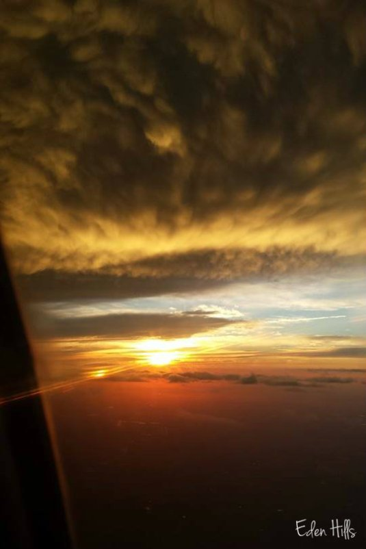 sunset from the airplane when getting ready to land