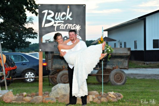 bride and groom farm sign